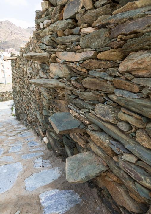 Al-Namas stone stairs of an old house, Al-Bahah region, Altawlah, Saudi Arabia