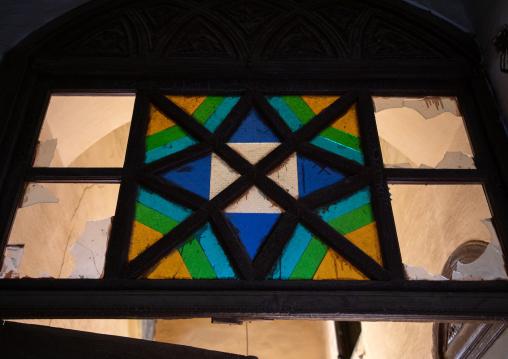Al Kateb house stained window decoration, Mecca province, Taïf, Saudi Arabia