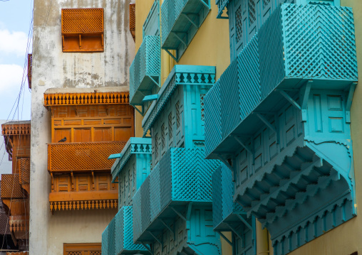 Old houses with wooden mashrabiyas in al-Balad quarter, Mecca province, Jeddah, Saudi Arabia