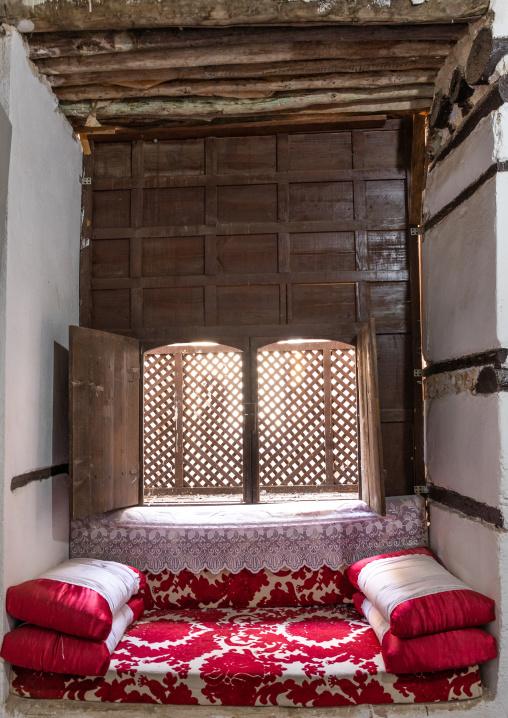 Wooden mashrabiya inside Abdullah Matbouli house in al-Balad quarter, Mecca province, Jeddah, Saudi Arabia