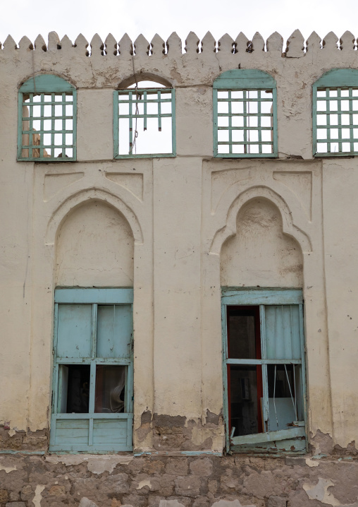 Windows of an old house used as a free dormitory in the past, Mecca province, Jeddah, Saudi Arabia