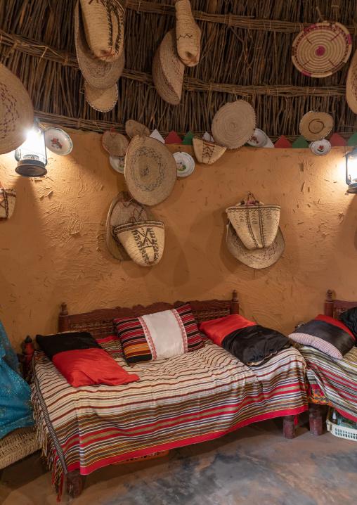 Inside al Ousha Attiniya house in heritage village, Jizan Province, Jizan, Saudi Arabia