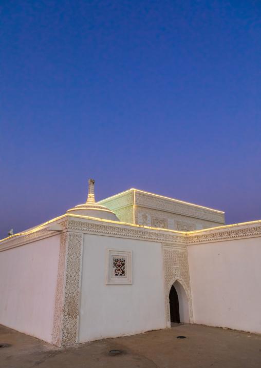 Farasani house with gypsum decoration and frescoes in the heritage village, Jizan Province, Jizan, Saudi Arabia