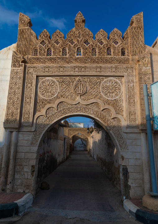 Doorway gypsum decoration of Ahmed Munawar Refa house, Red Sea, Farasan, Saudi Arabia