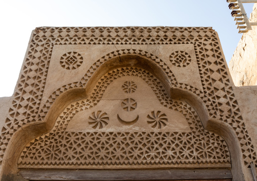 Doorway gypsum decoration of a farasani house, Red Sea, Farasan, Saudi Arabia