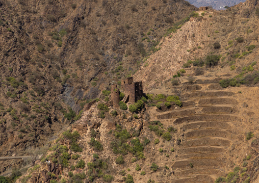 Traditional stone watchtowers in the mountain, Jizan Province, Addayer, Saudi Arabia