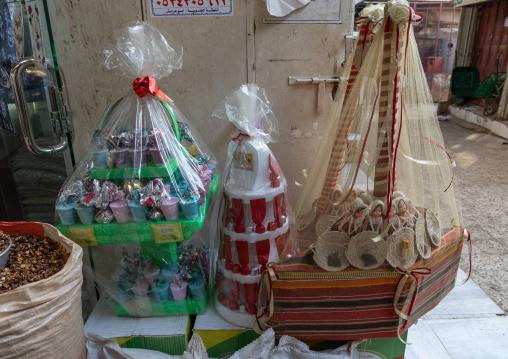 Wrapped gifts for wedding for sale in a shop, Jizan Province, Sabya, Saudi Arabia