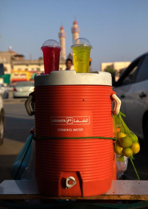 Chemical fruit juices for sale in the market, Jizan Province, Sabya, Saudi Arabia