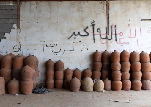 Traditional potteries fro sale in a market, Jizan Province, Mahalah, Saudi Arabia
