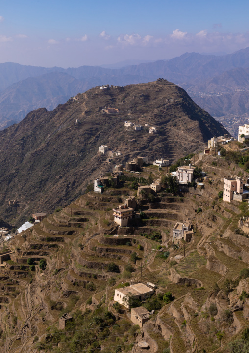 Modern and old houses built in the mountains, Jizan Province, Addayer, Saudi Arabia