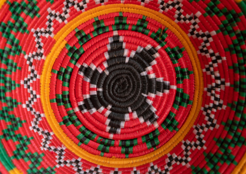 Colorful traditional basketry detail, Asir province, Abha, Saudi Arabia