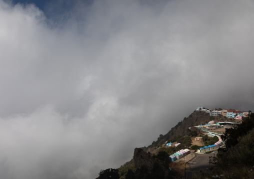 Mountainous village in the fog, Asir province, Abha, Saudi Arabia