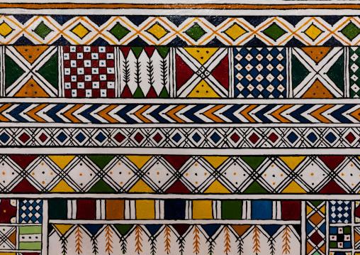 Al-qatt al-asiri traditionally female interior wall decoration in a house, Asir province, Rijal Alma, Saudi Arabia