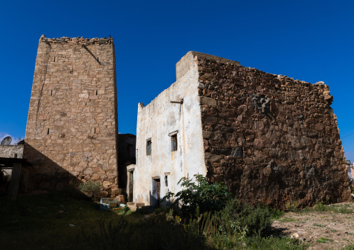 Old traditional houses against blue sky, Asir province, Abha, Saudi Arabia