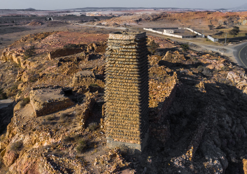 Aerial view of a stone and mud watchtower with slates, Asir province, Sarat Abidah, Saudi Arabia