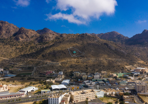 Aerial view of a Saudi Arabia map on a hill, Asir province, Abha, Saudi Arabia