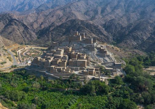 Dhee Ayn marble village aerial view, Al-Bahah region, Al Mukhwah, Saudi Arabia