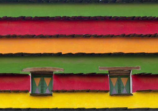 Bin hamsan house multicolored walls, Asir province, Khamis Mushait, Saudi Arabia