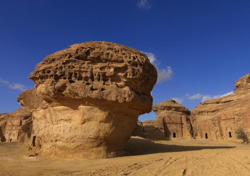 Nabataean tomb in al-Hijr archaeological site in Madain Saleh, Al Madinah Province, Alula, Saudi Arabia