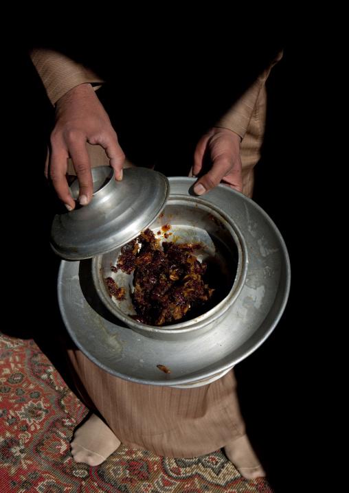 Dattes in a silver cup, Al-Jawf Province, Sakaka, Saudi Arabia