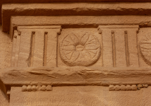 Top of a nabataean tomb in madain saleh archaeologic site, Al Madinah Province, Al-Ula, Saudi Arabia