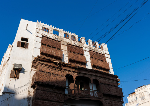 Houses with wooden mashrabia and rowshan in the old quarter, Hijaz Tihamah region, Jeddah, Saudi Arabia