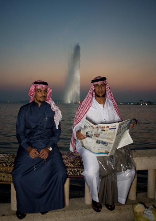 Saudi men in front of the fountain, Mecca province, Jeddah, Saudi Arabia