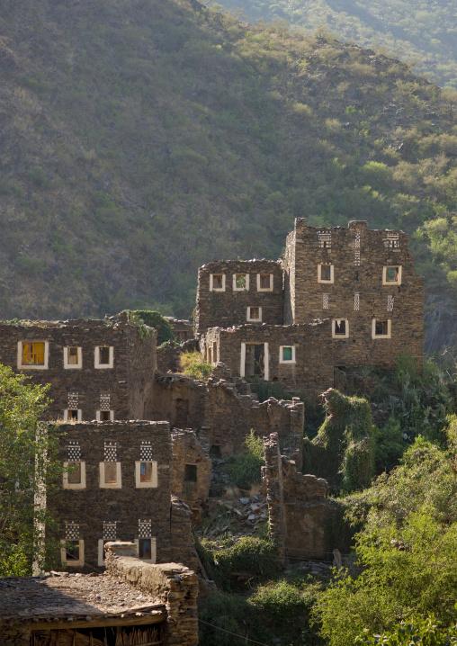 Multi-storey houses made of stones, Rijal Almaa Province, Rijal Alma, Saudi Arabia