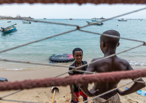 Somali children playing on the beach, Sahil region, Berbera, Somaliland