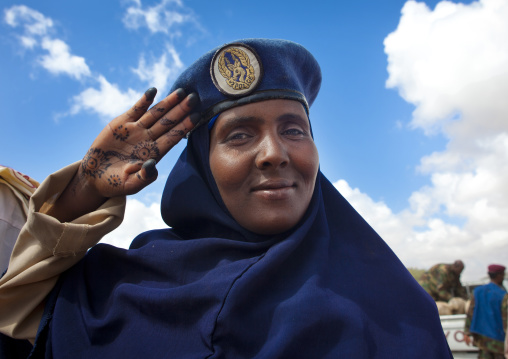 Portrait of a policewoman standing at attention, Hargeisa, Somaliland
