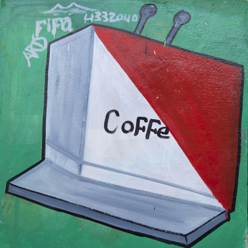 Coffee cafe advertisement painted sign, Hargeisa, Somaliland
