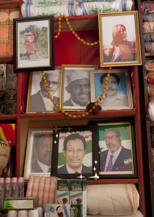 Portraits of somaliland characters on the wall in a shop, Hargeisa, Somaliland