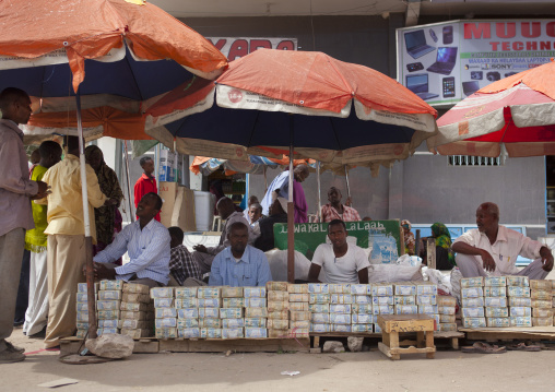 Wads of money changers on their stall near hargeisa market, Somaliland