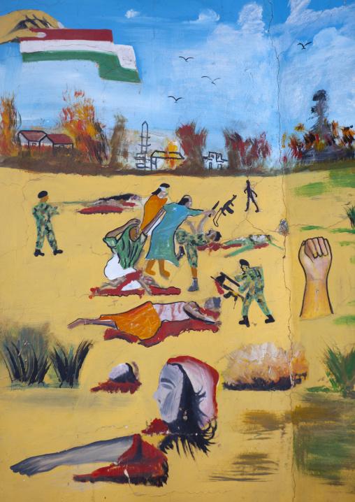 Civil war fresco in the war memorial museum, Hargeisa, Somaliland