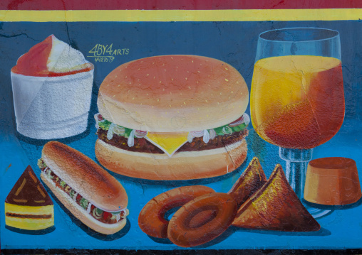A painted sign advertising for a fast food restaurant, Hargeisa, Somaliland