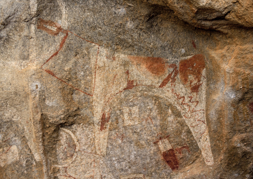 Laas geel rock art caves, Paintings depicting cows and human beings, Hargeisa, Somaliland