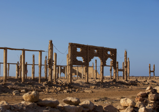 Ruins of a building destroyed during civil war, Berbera, Somaliland