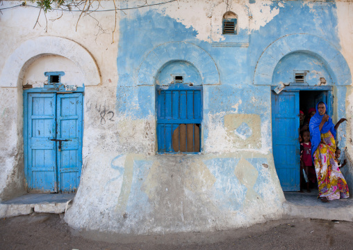People Outside A Former Ottoman Empire House, Berbera Area, Somaliland