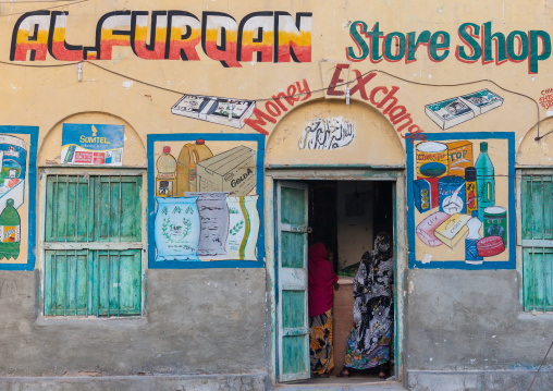 Colorful painted entrance of a  shop, North-Western province, Berbera, Somaliland