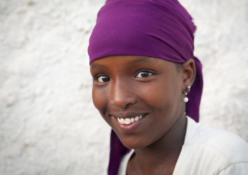 Portrait of a smiling teenage girl, Berbera,  Somaliland