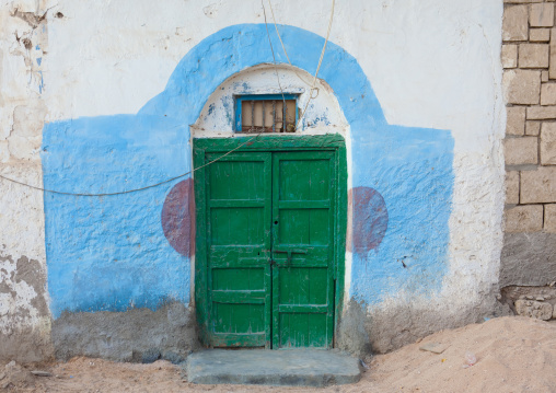 Green Door Of A Former Ottoman Empire House, Berbera Area, Somaliland