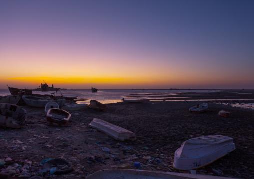 Stationing boats near the beach at sunset, North-western province, Berbera, Somaliland