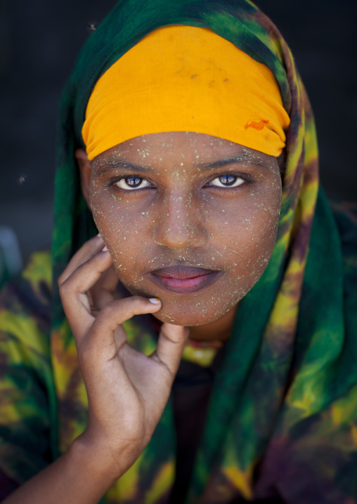 Portrait of a teenage girl wearing qasil on her face, Berbera, Somaliland