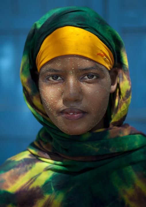 Portrait of a teenage girl wearing qasil on her face, Berbera, Somaliland