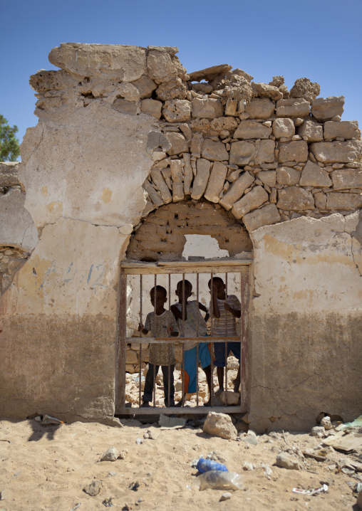 Children in the door of a ruined former ottoman empire house, Berbera area, Somaliland