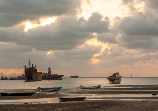 Boats on the beach at sunset, North-western province, Berbera, Somaliland