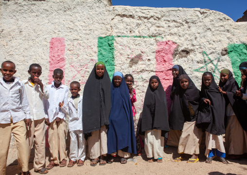 Somali children in the street going to school, North-western province, Berbera, Somaliland