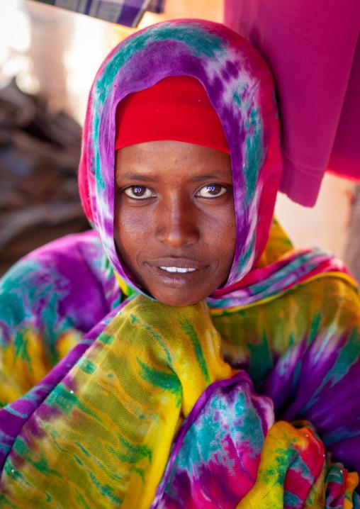 Portrait of a somali woman in colorful hijab, North-western province, Berbera, Somaliland