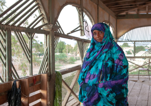 Portrait of a senior somali woman inside a former ottoman empire house, North-western province, Berbera, Somaliland