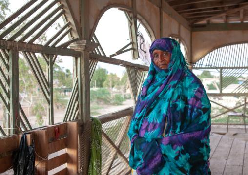 Portrait of a senior somali woman inside a former ottoman empire house, North-Western province, Berbera, Somaliland